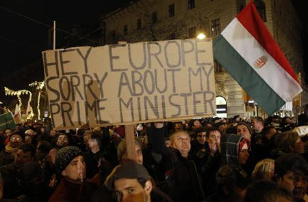 A man holds up a sign during a protest in central Budapest January 2, 2012. REUTERS/Laszlo Balogh