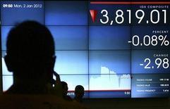 Трейдеры стоят около экрана, на котором отображается индекс Индонезийской фондовой биржи в Джакарте, 2 января 2012 года. Фондовые рынки Азии выросли в первый день торгов нового года благодаря возобновившемуся аппетиту инвесторов к риску. REUTERS/Stringer (INDONESIA - Tags: BUSINESS)