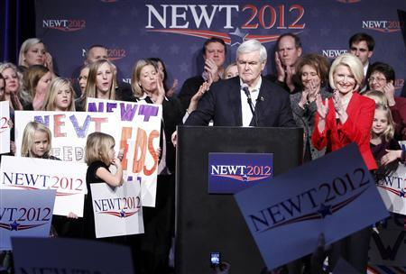 Newt Gingrich addresses his Iowa Caucus night rally in Des Moines, January 3, 2012. REUTERS/Jeff Haynes