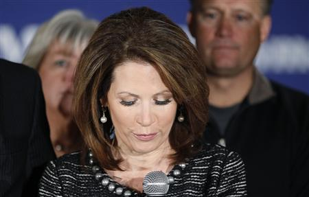 Michele Bachmann announces the end of her presidential campaign in West Des Moines, January 4, 2012. REUTERS/Rick Wilking
