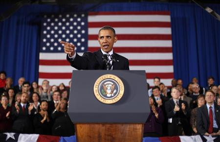 U.S. President Barack Obama speaks about jobs and the economy during a trip to Cleveland, Ohio January 4, 2012.  REUTERS/Kevin Lamarque