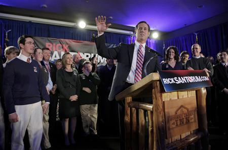 Republican presidential candidate and former Senator Rick Santorum address his Iowa Caucus night rally in Johnston, Iowa, January 3, 2012. REUTERS/John Gress