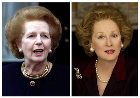 Former Prime Minister Lady Thatcher (L) is shown in this 1997 file photo combined with a publicity photo of actress Meryl Streep portraying Thatcher in her new film ''The Iron Lady'' in this combination photo December 26, 2011. Making a film about an iconic politician like Britain's Margaret Thatcher is akin to walking into a movie minefield, and casting an American -- even one as revered as Meryl Streep -- is asking for more trouble.  REUTERS/Russel Boyce/Files and Alex Bailey/Courtesy of Pathe Productions Ltd/ The Weinstein Company/Handout