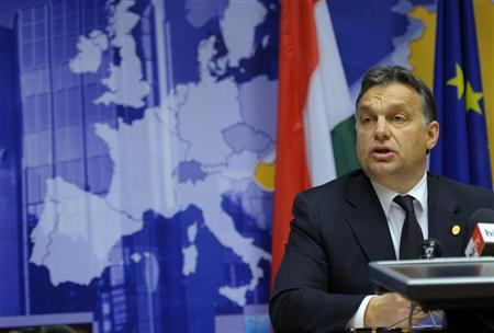 Hungary's Prime Minister Viktor Orban addresses a news conference at the end of an European Union leaders summit in Brussels December 9, 2011. REUTERS/Philippe Wojazer