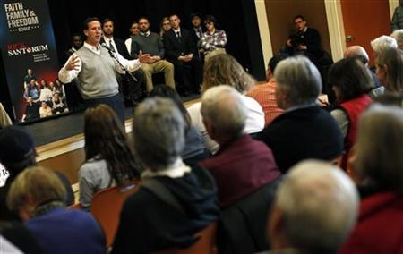 Republican presidential candidate and former Pennsylvania Senator Rick Santorum speaks to voters at a campaign stop in Dublin, New Hampshire, January 6, 2012. The New Hampshire Republican presidential primary election is on January 10. REUTERS/Mike Segar