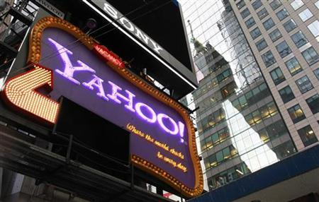 A Yahoo billboard is seen in New York's Times Square October 19, 2010. Yahoo Inc will be reporting its quarterly earnings Tuesday. REUTERS/Brendan McDermid