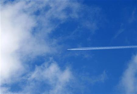 An aircraft flies over western England April 20, 2010. REUTERS/Andrew Winning