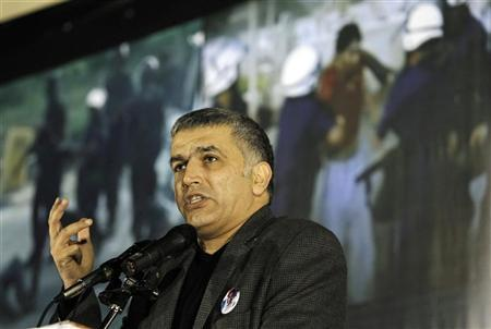 Bahrain Human rights Activist, Nabeel Rajab speaks at an anti-government gathering organised by al-Wafeq, in Budaiya west of Manama, December 9, 2011. REUTERS/Hamad I Mohammed