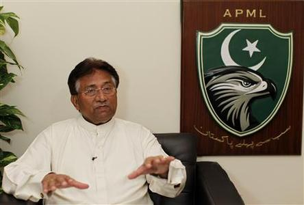 Former Pakistani president Pervez Musharraf speaks during an interview with Reuters in Dubai January 8, 2012. REUTERS/Jumana El Heloueh