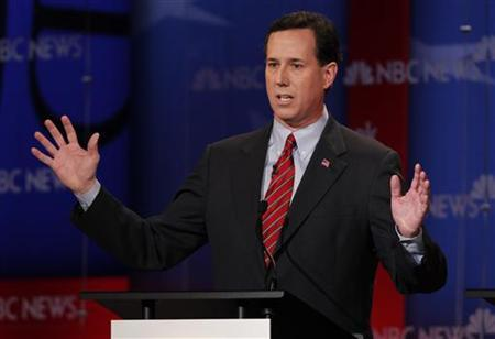 Republican presidential candidate former U.S. Senator Rick Santorum (R-PA) speaks during a Republican presidential candidates debate in Concord, New Hampshire, January 8, 2012. REUTERS/Jessica Rinaldi