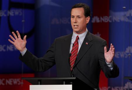 Republican presidential candidate former U.S. Senator Rick Santorum (R-PA) speaks during a Republican presidential candidates debate in Concord, New Hampshire, January 8, 2012. REUTERS/Jessica Rinaldi
