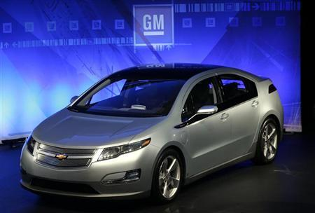A General Motors Co Chevrolet Volt is seen during a news conference at GM's Warren Technical Center in Warren, Michigan August 11, 2009. REUTERS/Rebecca Cook