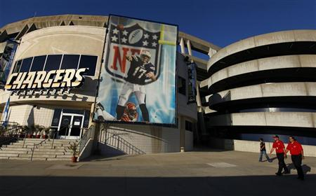 San Diego Chargers quarterback Philip Rivers is featured on a banner outside the team's store at Qualcomm Stadium in San Diego July 20, 2011. REUTERS/Mike Blake