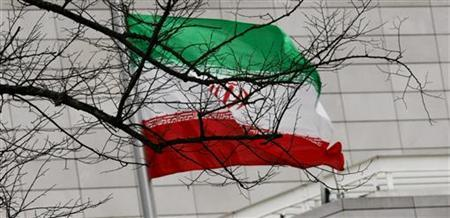 Iran's national flag is pictured at Iran's embassy to Germany in Berlin December 1, 2011. REUTERS/Stringer/Files