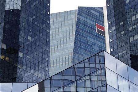 The geometric glass and steel buildings are seen at the headquarters of French bank Societe Generale, the country's second largest, at La Defense, west of Paris, August 11, 2011.  REUTERS/John Schults