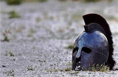 <p>A helmet lies in sand in the Roman amphitheatre after a performance by Hungarian Collegium Gladiatorium fighting club in Croatia's northern Adriatic port of Pula May 23, 2009, during the traditional Antiquity festival at the start of the summer tourist season. REUTERS/Nikola Solic</p>