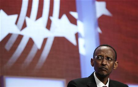 Rwanda's President Paul Kagame listens to speakers discuss women's issues during the Clinton Global Initiative in New York, September 22, 2011. REUTERS/Lucas Jackson