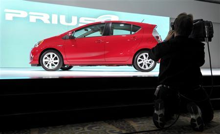 The Toyota Prius C hybrid is displayed on the final press preview day for the North American International Auto Show in Detroit, Michigan, January 10, 2012.  REUTERS/Mike Cassese