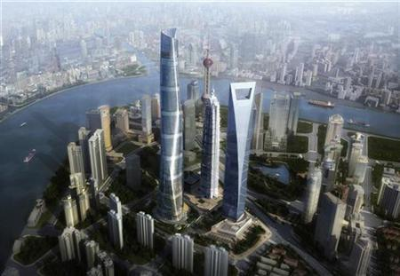 A 2008 computer-generated image shows the planned Shanghai Tower (tallest) which will stand in Lujiazui financial district of Shanghai. REUTERS/Gensler/Handout