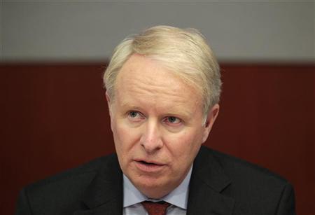 David Pyott, CEO of Allergan, speaks during the Reuters Health Summit in New York, May 9, 2011.   REUTERS/Brendan McDermid