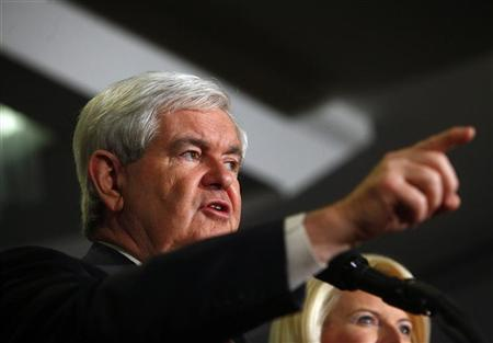 Republican presidential candidate and former House Speaker Newt Gingrich and his wife Callista Gingrich attend a primary night party in Manchester, New Hampshire January 10, 2012.  REUTERS/Eric Thayer