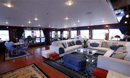 The interior of the CRN 60m Blue Eyes yacht is seen at the International Boat Show in Genoa, October 5, 2010.  REUTERS/Alessandro Garofalo