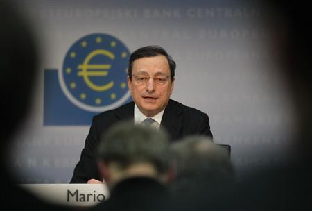 The European Central Bank President Mario Draghi speaks during the monthly news conference in Frankfurt, January 12, 2012. REUTERS/Alex Domanski