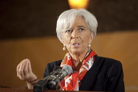 International Monetary Fund's Managing Director Christine Lagarde addresses a roundtable discussion in Lagos, December 20, 2011. REUTERS/Stephen Jaffe-IMF/Handout