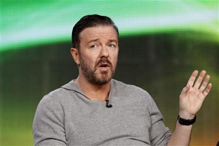 Cast member Ricky Gervais answers a question during the panel for the HBO television series ''Life's Too Short'' at the Television Critics Association winter press tour in Pasadena, California January 13, 2012.  REUTERS/Mario Anzuoni