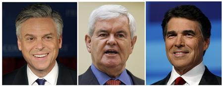 Republican U.S. presidential candidates Jon Huntsman (L), Newt Gingrich (C) and Rick Perry are seen in this January 13, 2012 combination photograph. A U.S. federal judge in Virginia on Friday refused to order that candidates Perry, Gingrich and Huntsman be added to the ballot in the state's March 6 Republican presidential primary election after they failed to qualify.  Former Massachusetts Governor Mitt Romney and congressman Ron Paul were the only two candidates to qualify for the primary in Virginia by submitting the 10,000 verifiable signatures by the deadline. REUTERS/Adam Hunger (L), Jason Reed (C) and Scott Audette