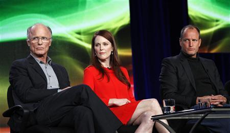 Cast members Ed Harris (L), Julianne Moore and Woody Harrelson attend the panel for the HBO television film ''Game Change'' at the Television Critics Association winter press tour in Pasadena, California January 13, 2012.  REUTERS/Mario Anzuoni