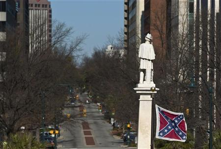 A Confederate flag flies outside the State House in Columbia, South Carolina January 14, 2012. REUTERS/Chris Keane
