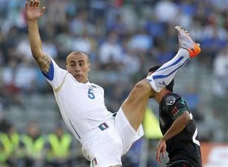 Italy's Fabio Cannavaro jumps during an international friendly soccer match against Mexico in Brussels June 3, 2010. REUTERS/Francois Lenoir
