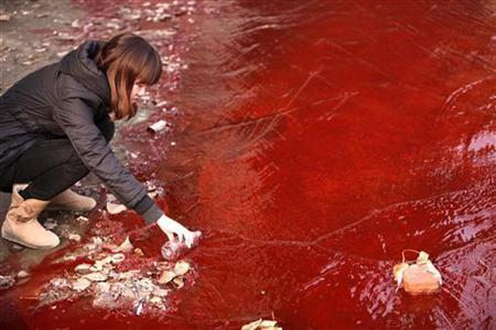 A journalist takes a sample of the red polluted water in the Jianhe River in Luoyang, Henan province December 13, 2011. REUTERS/China Daily
