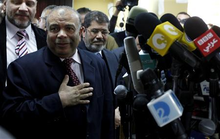 Saad al-Katatni, secretary general of the the Muslim Brotherhood's Freedom and Justice Party, attends a news conference at the headquarters of the party, in Cairo January 16, 2012. The brotherhood held a conference to announce their nomination for the speaker of Parliament. REUTERS/Mohamed Abd El-Ghany