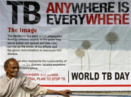 Jotindra Singh, 65, suffering from Tuberculosis (TB) waits for his free treatment outside a medical centre in Siliguri March 24, 2009. REUTERS/Rupak De Chowdhuri/Files
