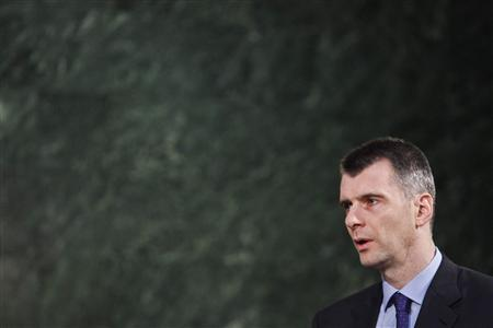 Russian tycoon Mikhail Prokhorov speaks during an interview in Moscow January 12, 2012. REUTERS/Anton Golubev