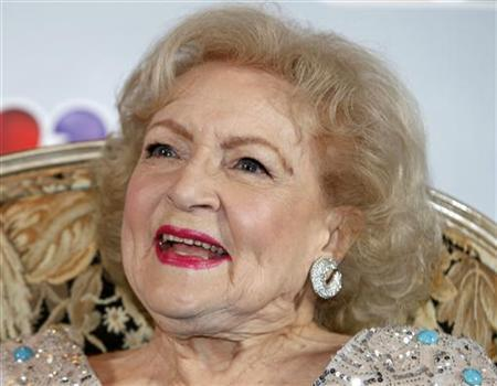 Actress Betty White arrives for a news conference before the taping of ''Betty White's 90th Birthday: A Tribute to America's Golden Girl'' in Los Angeles January 8, 2012. REUTERS/Sam Mircovich