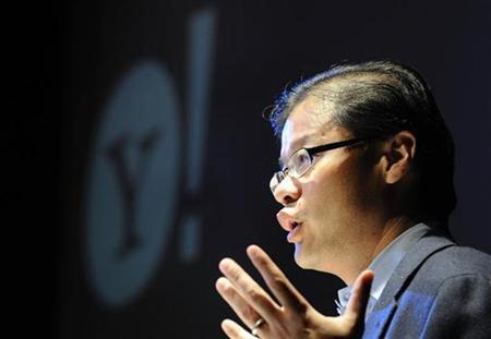 Jerry Yang, Chief Executive Officer and co-founder of Yahoo! gestures as he addresses a conference in central Londonn November 12, 2008. REUTERS/Toby Melville/Files