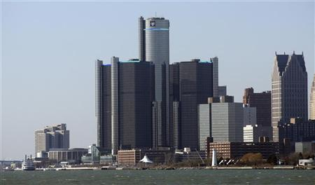 General Motors world headquarters (C) is seen along the Detroit river in downtown Detroit, Michigan, January 4, 2012. REUTERS/Rebecca Cook
