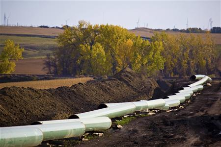 The Keystone Oil Pipeline is pictured under construction in North Dakota in an undated photo. REUTERS/TransCanada Corporation
