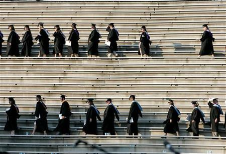 Graduating students enter the Paladin stadium before U.S. President George W. Bush watches them during the commencement ceremony at Furman University in Greenville, South Carolina May 31, 2008.  REUTERS/Larry Downing