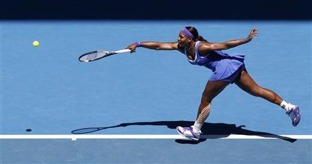 Serena Williams of the U.S hits a return to Barbora Zahlavova Strycova of the Czech Republic during their women's singles match at the Australian Open tennis tournament in Melbourne January 19, 2012. REUTERS/Tim Wimborne