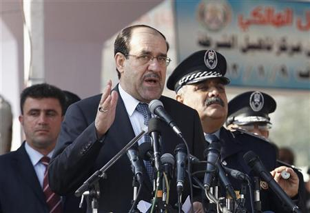 Iraq's Prime Minister Nuri al-Maliki gives a speech during a ceremony marking the Iraqi Police's 90th anniversary at a police academy in Baghdad January 9, 2012. REUTERS/Mohammed Ameen