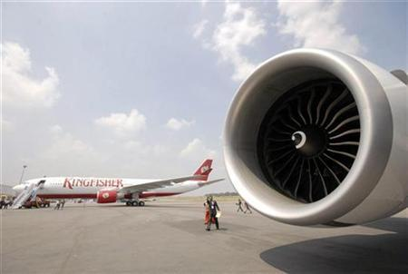 A passenger aircraft of India's Kingfisher Airlines is seen during ''India Aviation 2008'' in Hyderabad October 15, 2008. REUTERS/Krishnendu Halder/Files