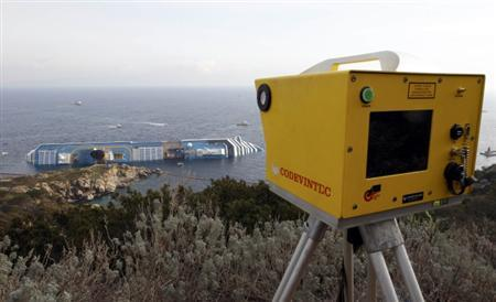 A laser scanner which monitors the movement of the structure of the Costa Concordia cruise ship that ran aground off the west coast of Italy at Giglio island is seen on January 19, 2012. REUTERS/Giampiero Sposito