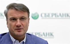 Глава Сбербанка Герман Греф на пресс-конференции в Москве, 15 июля 2011 г. Глава Сбербанка Герман Греф видит тенденцию к увеличению дефицита ликвидности на рынке и ожидает, что спрос на кредиты будет превышать предложение в ближайшие месяцы, но банки могут оказаться не в состоянии его удовлетворить. REUTERS/Denis Sinyakov