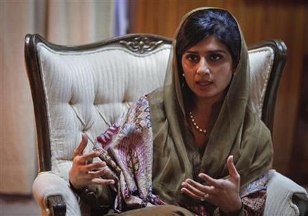 Pakistan's Foreign Minister Hina Rabbani Khar speaks during an interview with Reuters in Islamabad January 19, 2012. REUTERS/Faisal Mahmood
