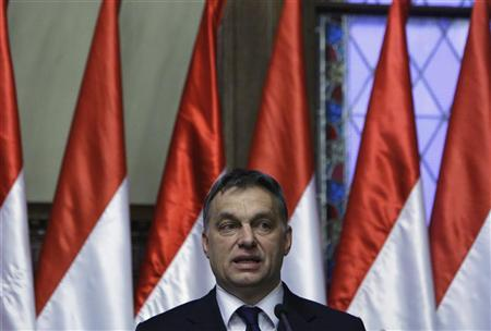 Hungary's Prime Minister Viktor Orban speaks during a news conference with Austria's Vice Chancellor Michael Spindelegger in Budapest January 20, 2012.  REUTERS/Bernadett Szabo