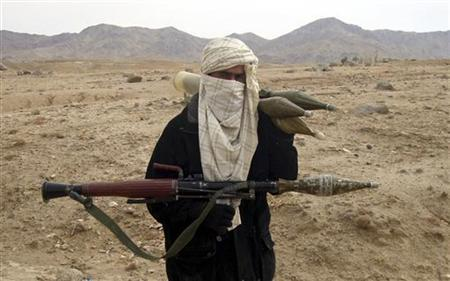 A Taliban fighter poses with weapons in an undisclosed location in Afghanistan, October 30, 2009.  REUTERS/Stringer